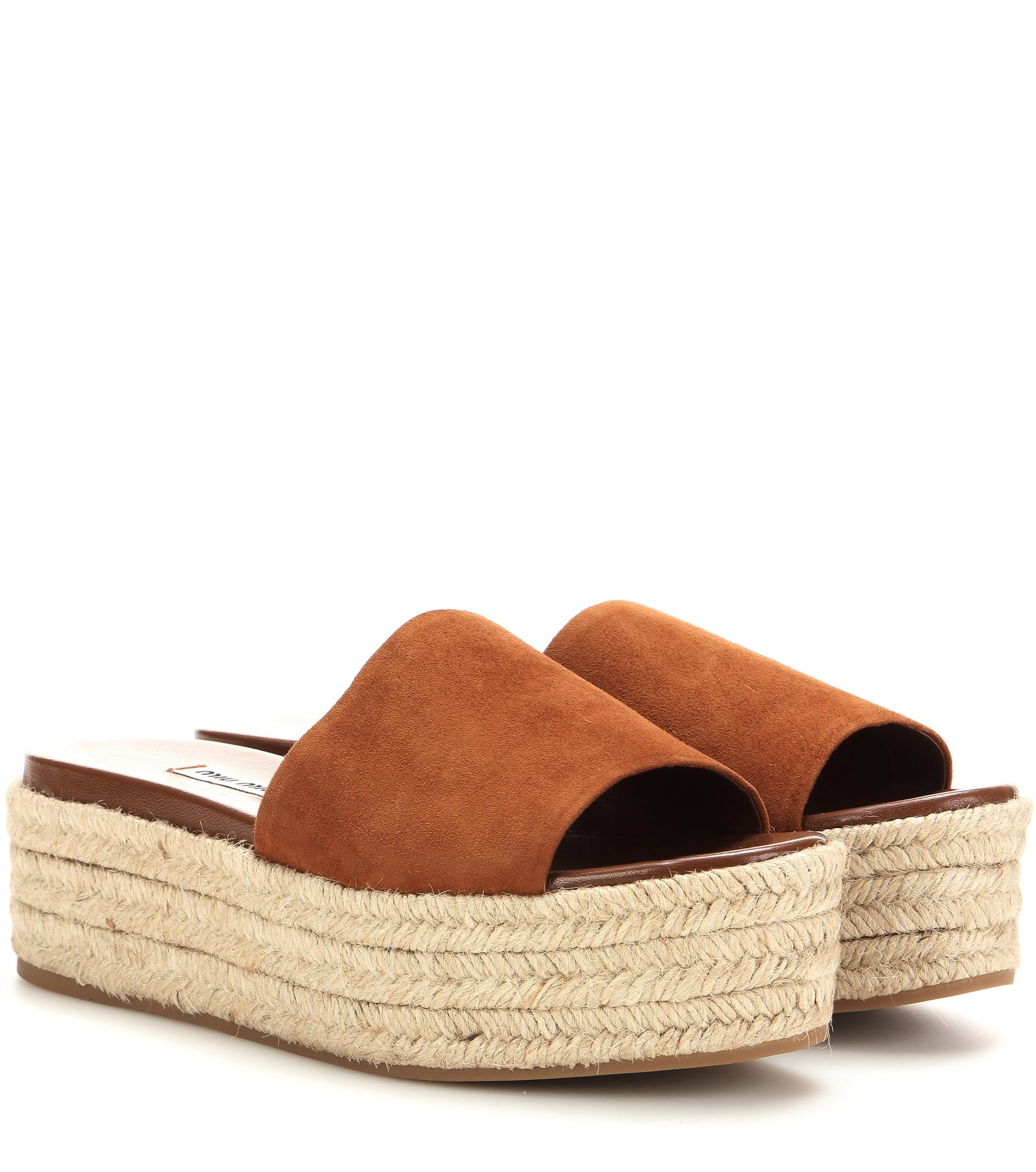 Miu Miu Velvet platform espadrille sandals mHNAJV6Au
