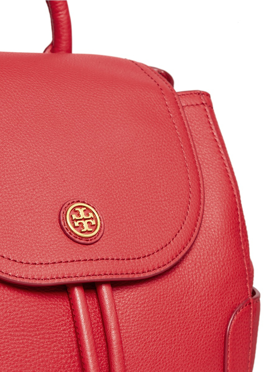 Lyst Tory Burch Frances Pebbled Leather Flap Backpack