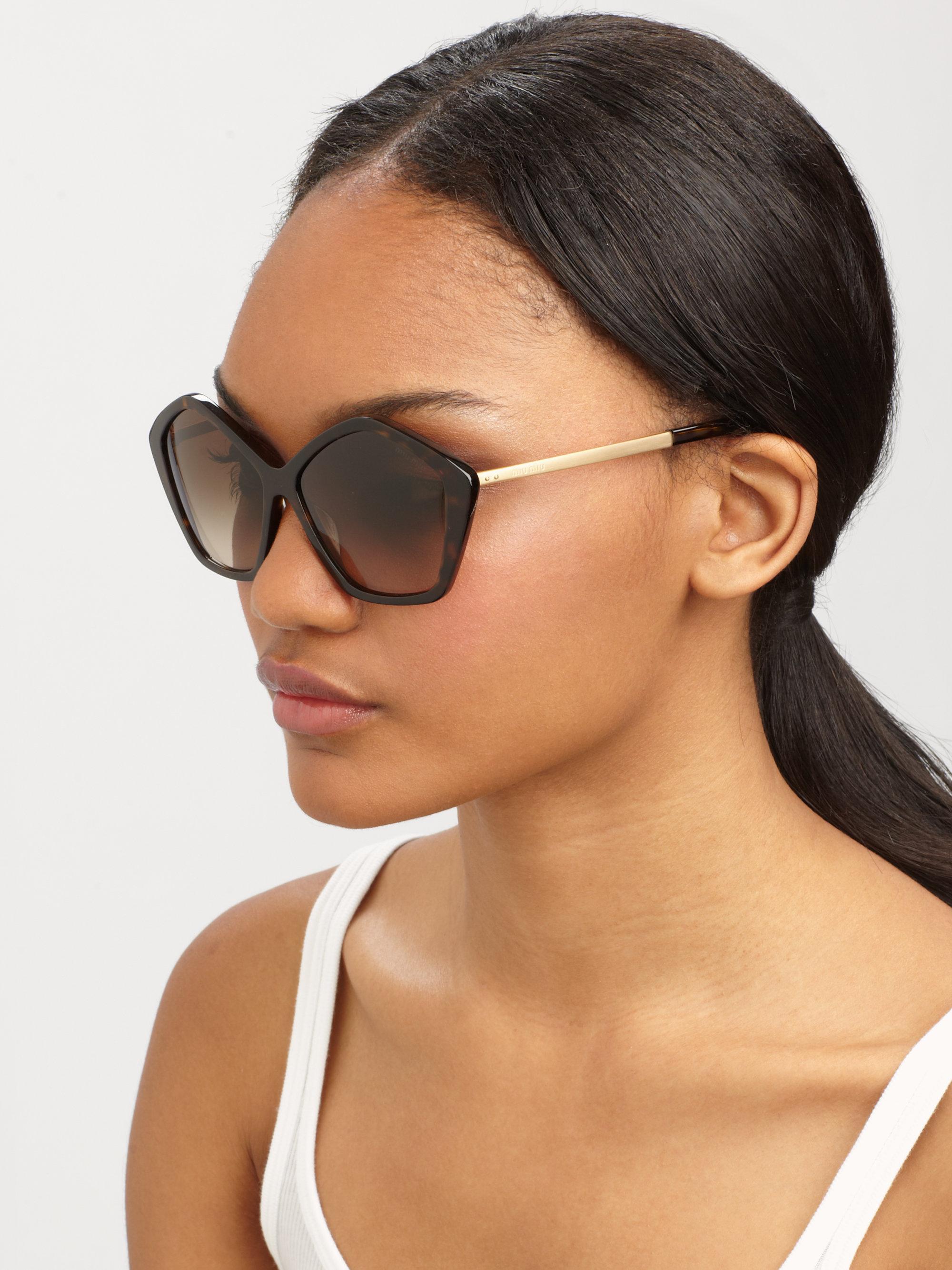 Miu Miu Hexagonal Sunglasses  miu miu star metal acetate sunglasses in brown lyst