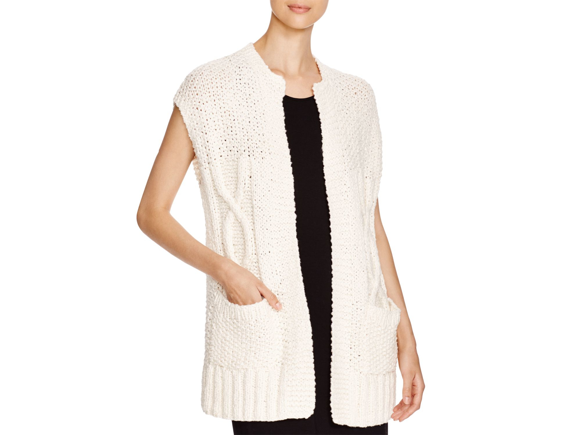 a9c9010cd397c Lyst - Eileen Fisher Cap Sleeve Cardigan in Natural