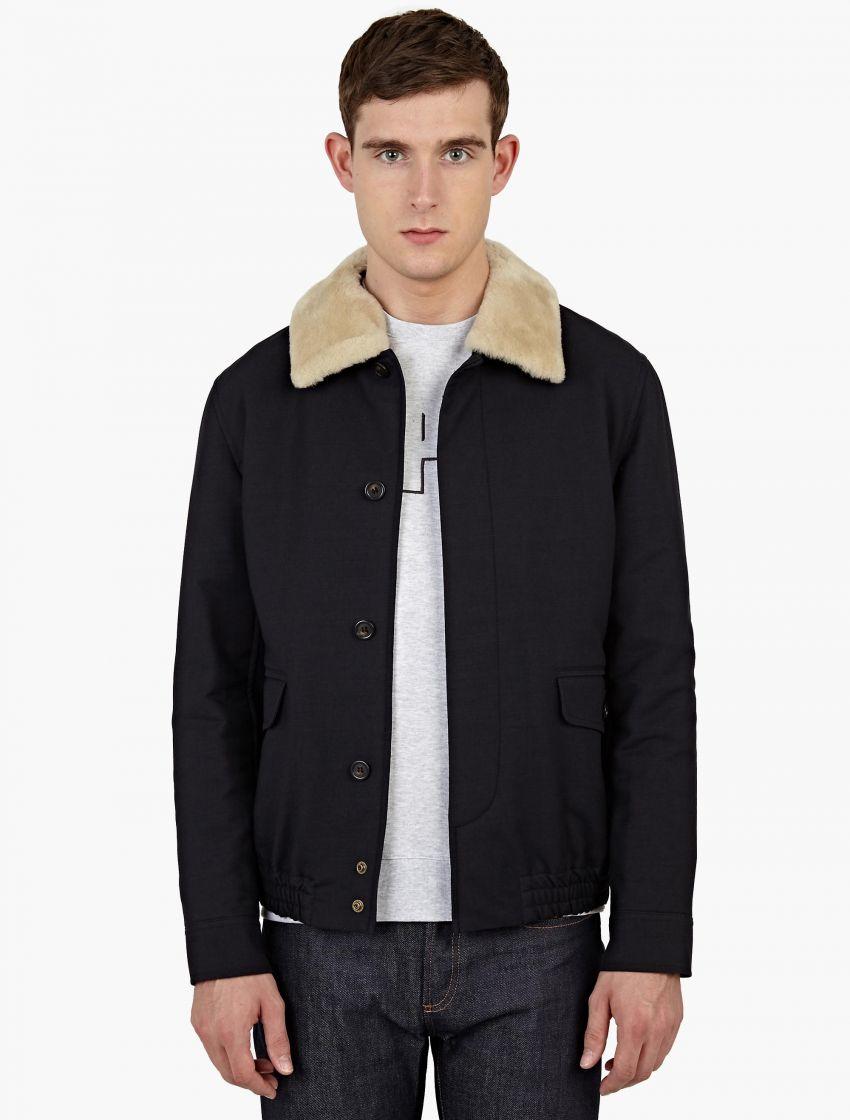 Shearling Collar Coat - Coat Nj