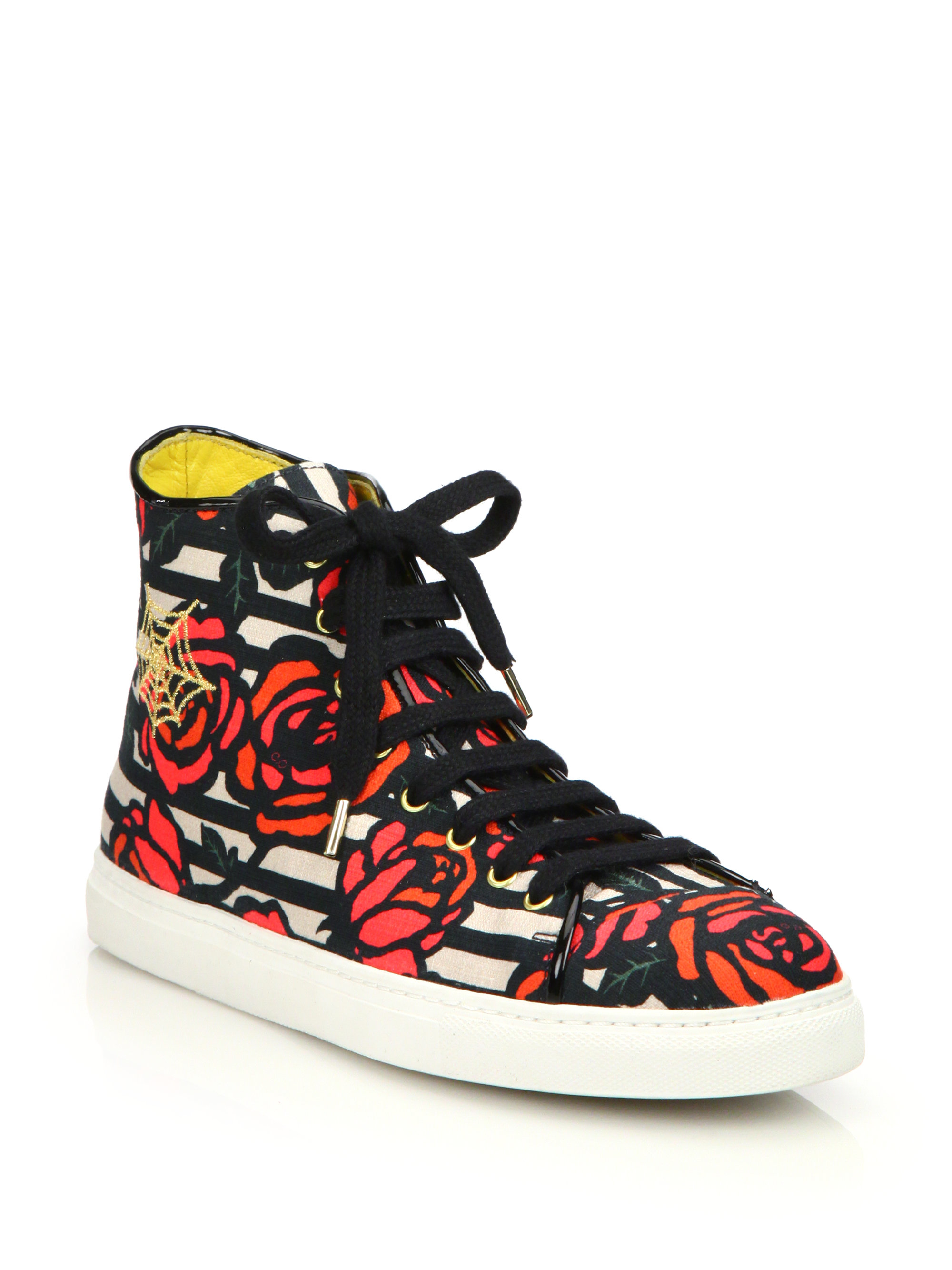 Charlotte olympia rose print embroidered high top sneakers