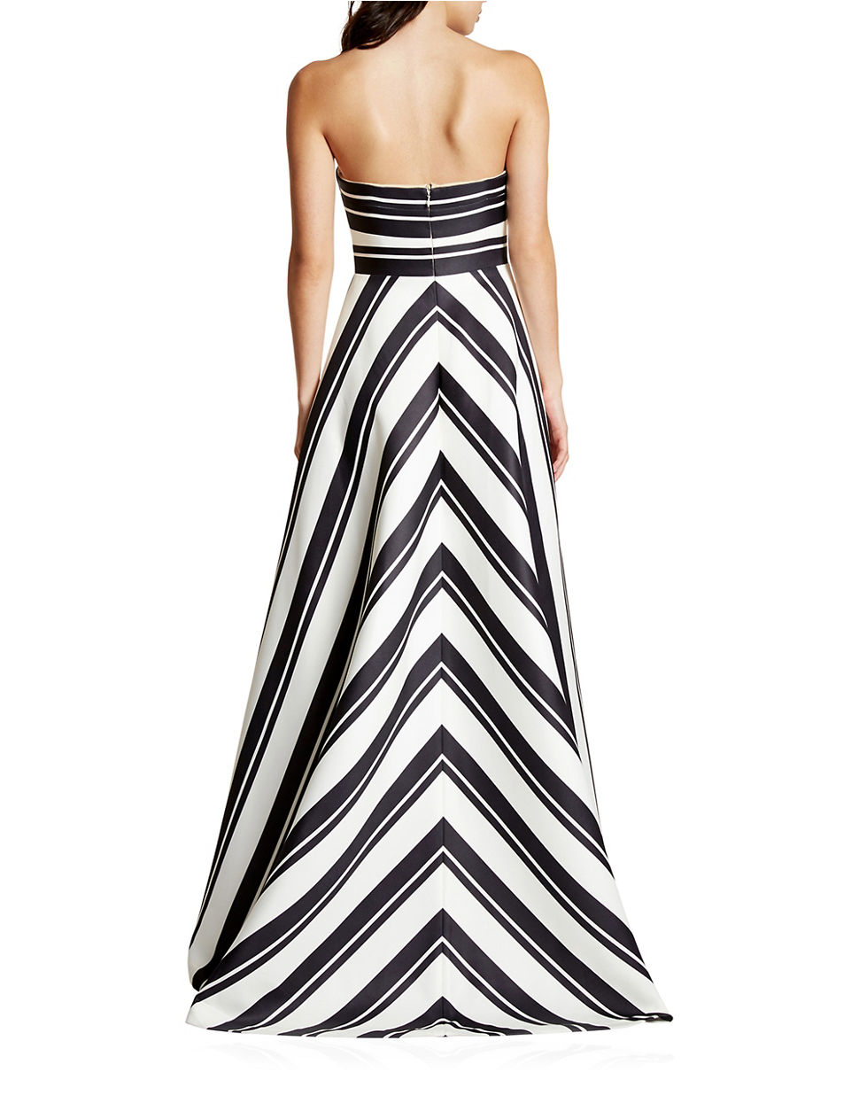 Lyst - Halston Strapless Variegated Stripe Gown in Black