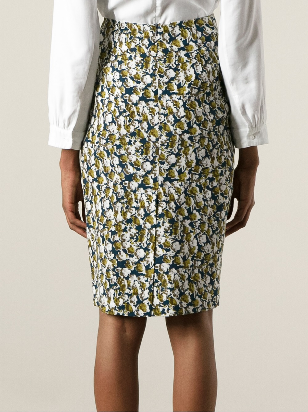 Marni Floral Print Pencil Skirt in Blue | Lyst