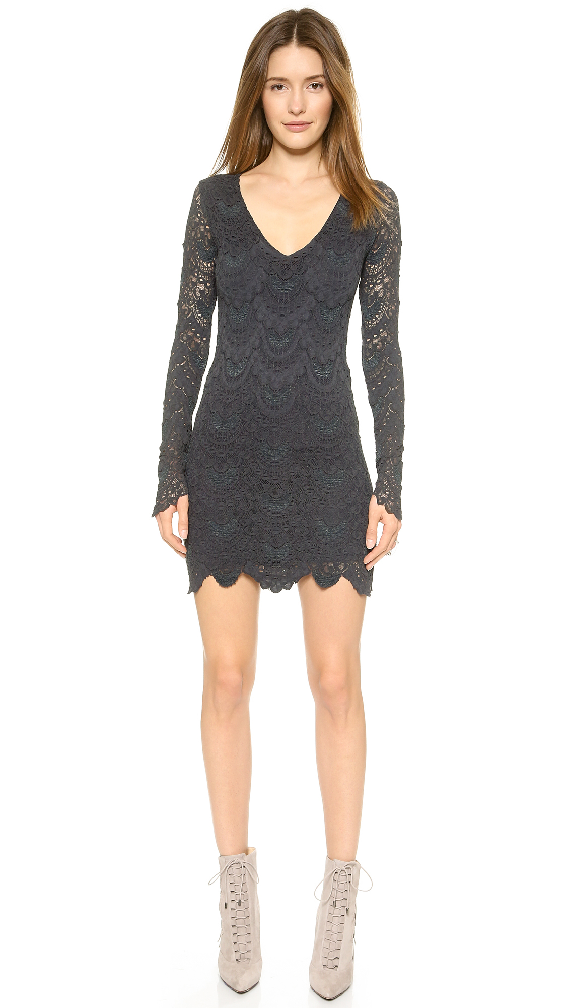 088be083d5 Nightcap Spanish Lace Long Sleeve Deep V Dress - Ivory in Gray - Lyst