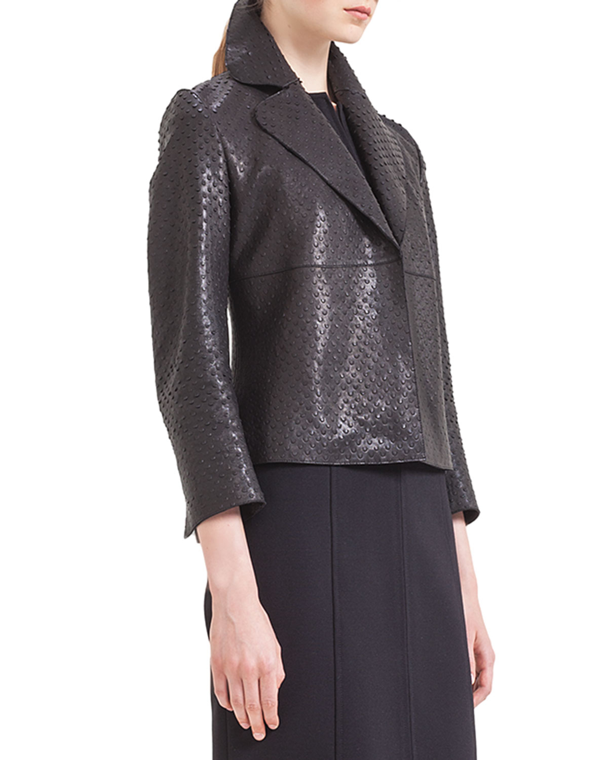 Akris Punto Perforated Napa Leather Jacket In Black Lyst