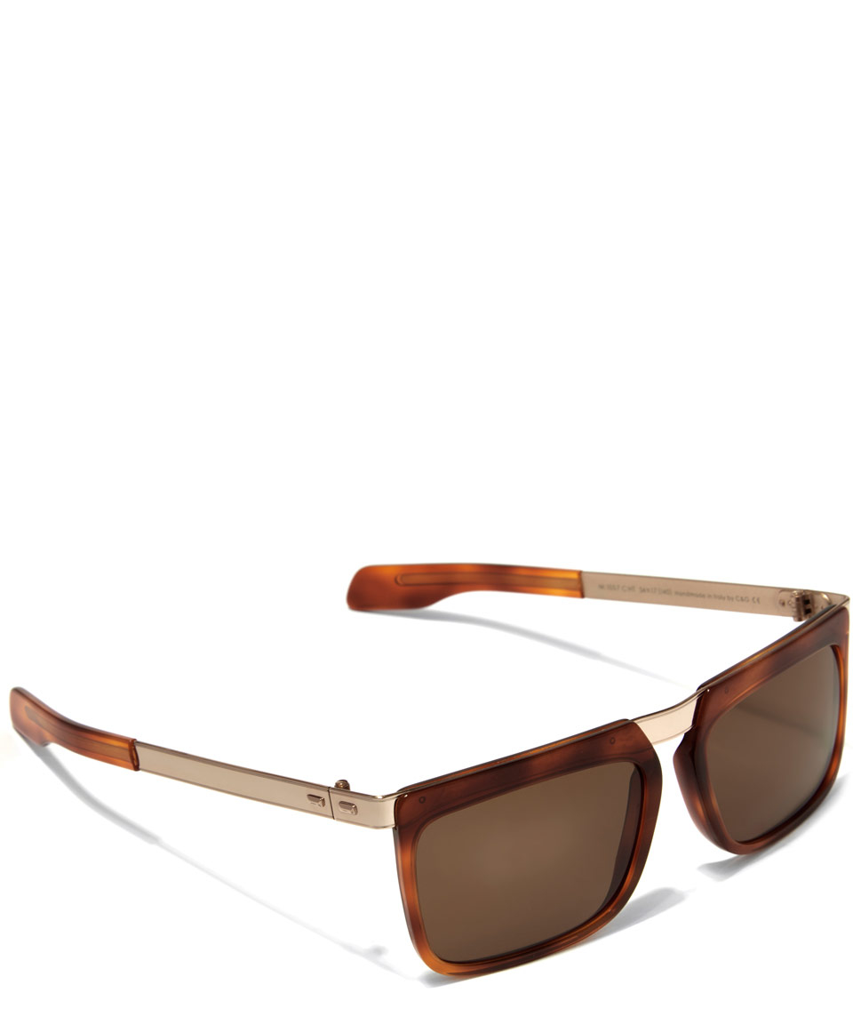 lyst cutler gross brown vintage angular sunglasses in brown for men. Black Bedroom Furniture Sets. Home Design Ideas
