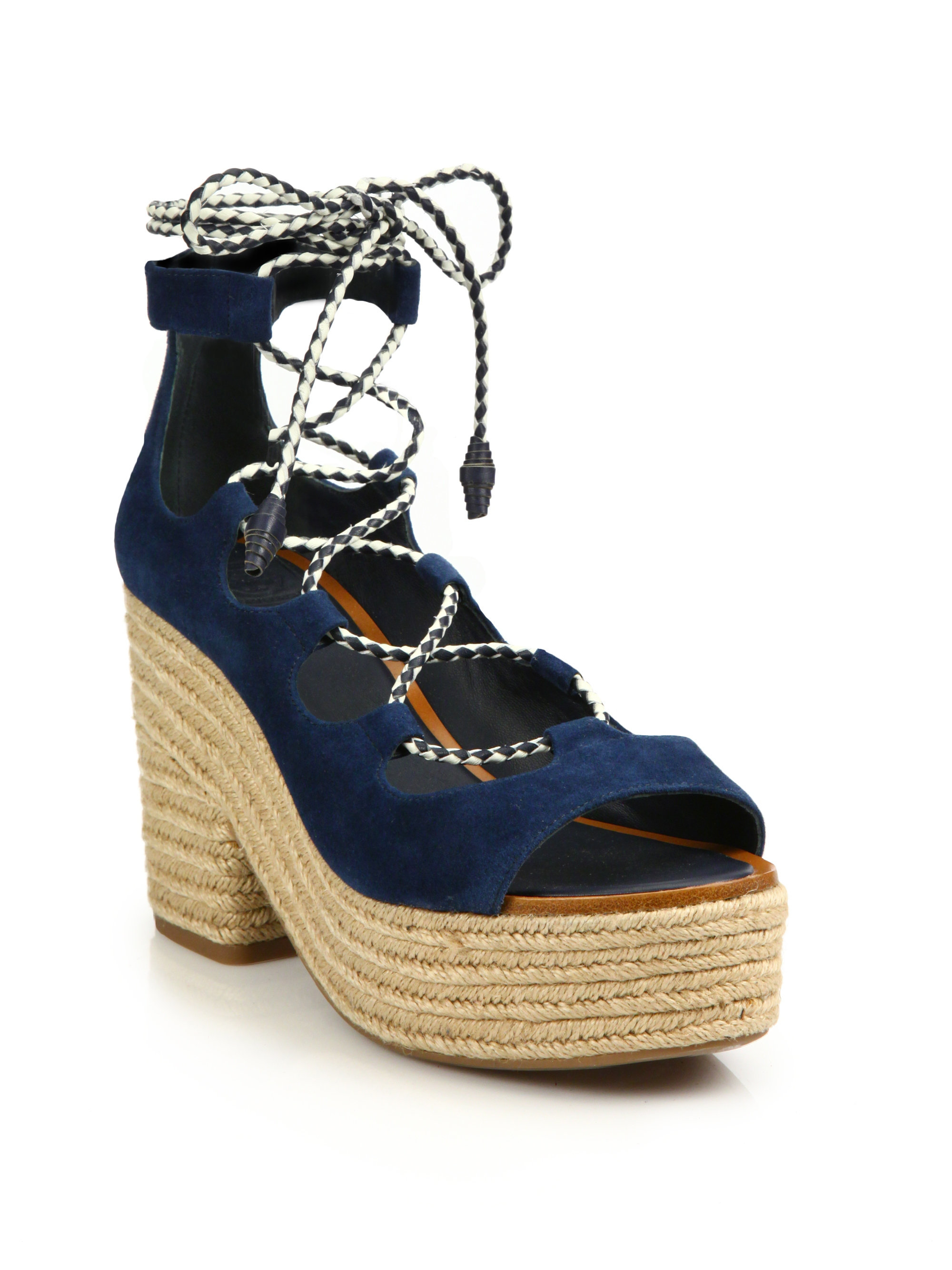 Tory Burch Suede Lace-Up Sandals buy cheap cheap sale get to buy clearance shop v5v2B6