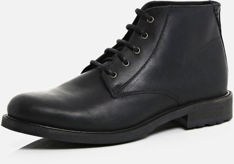 river island black leather smart chukka boots in black for