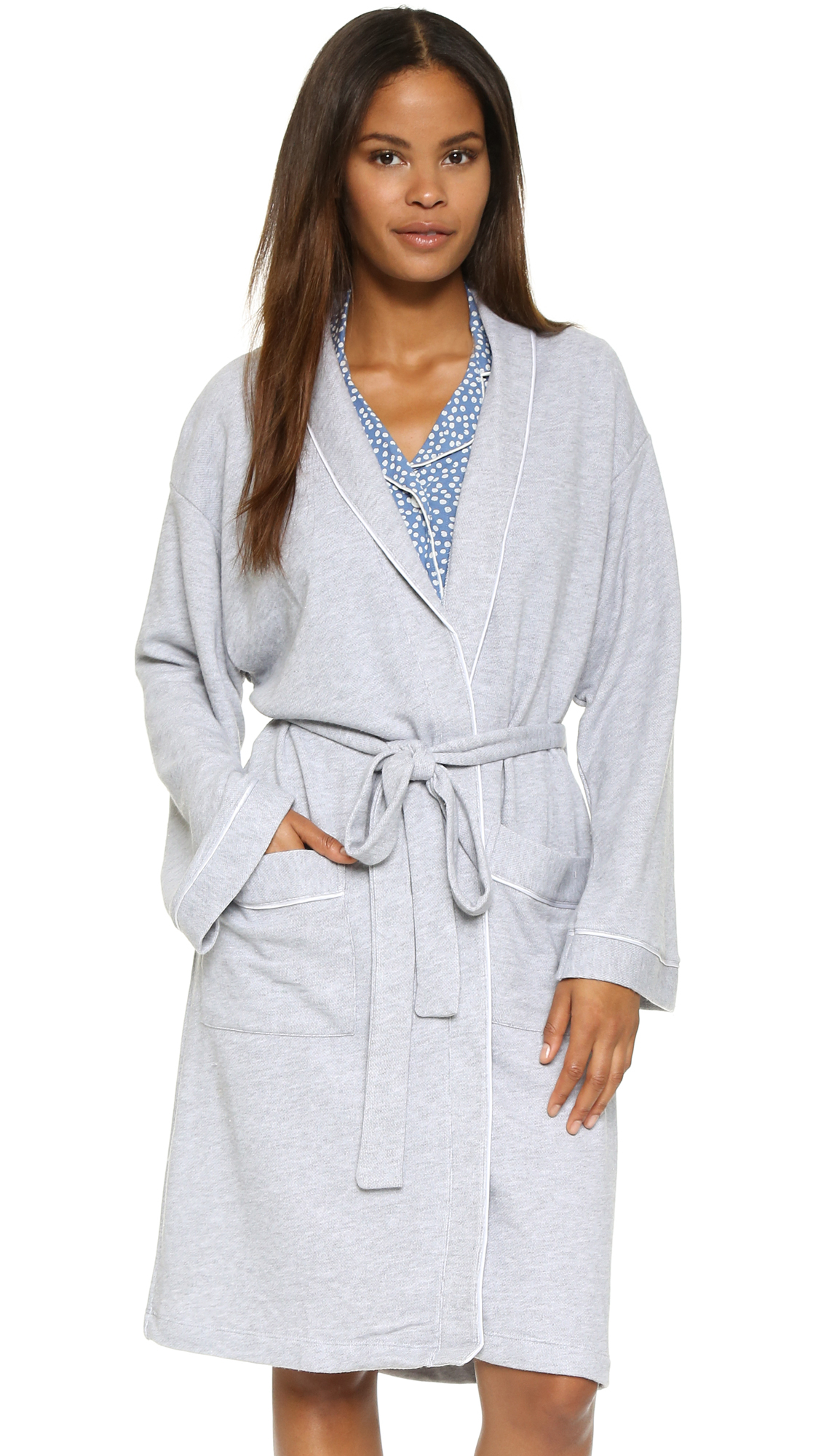 Lyst - Cosabella Bella French Terry Hotel Robe - Heather Gray/white ...