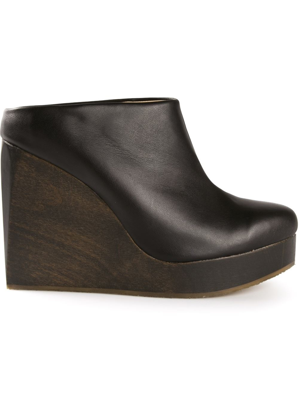 Sydney Brown Wedge Clogs In Black Lyst