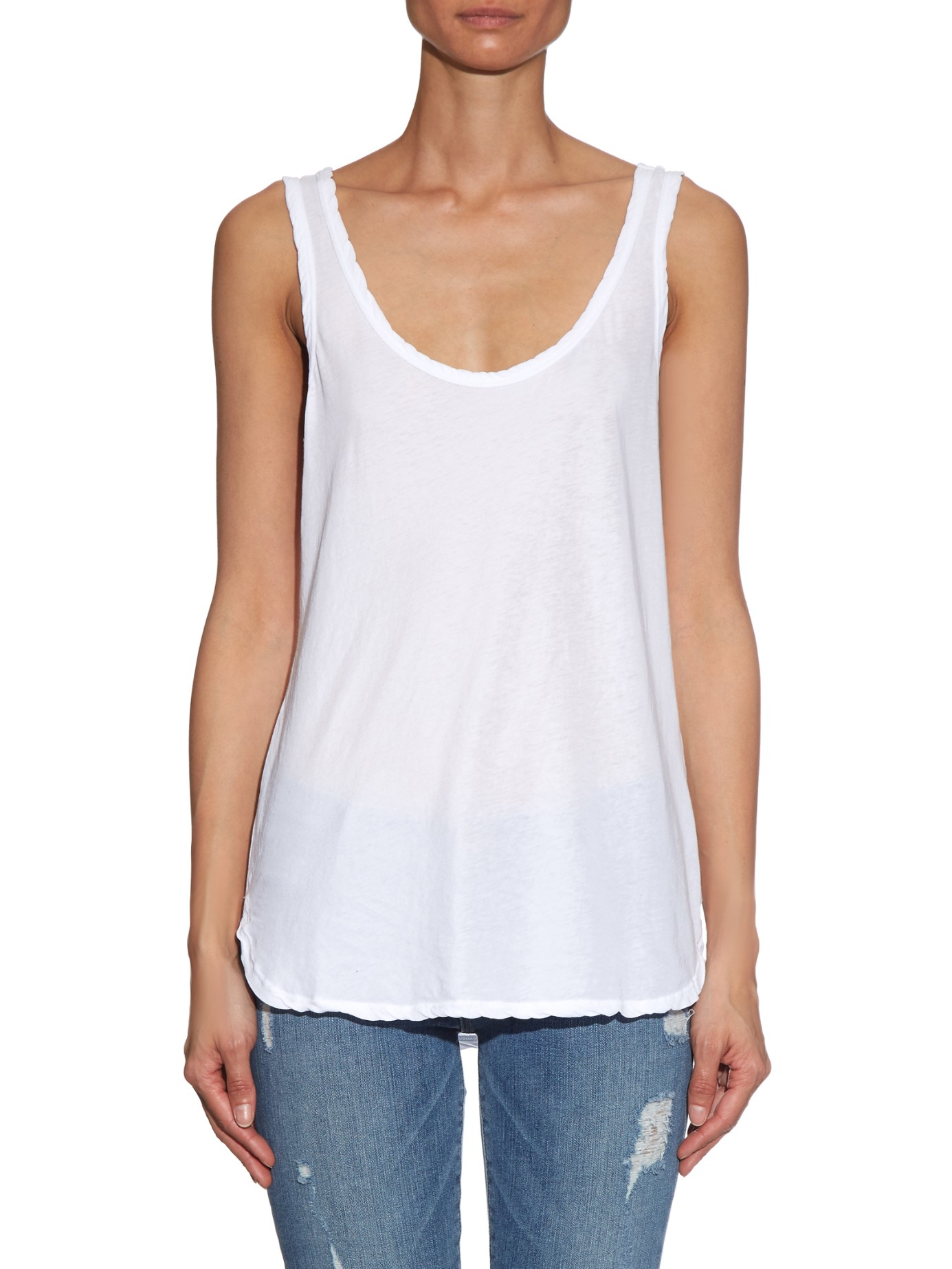 33180df0509861 Lyst - James Perse Relaxed-fit Cotton Tank Top in White