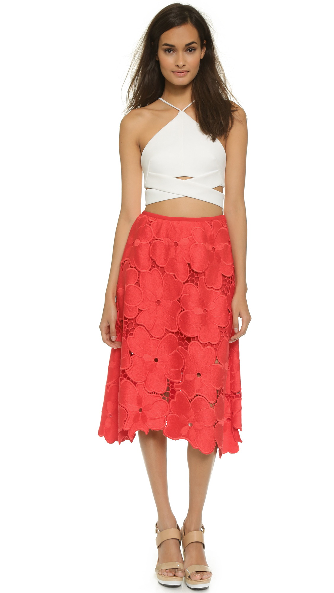 Red Lace Midi Skirt | Jill Dress