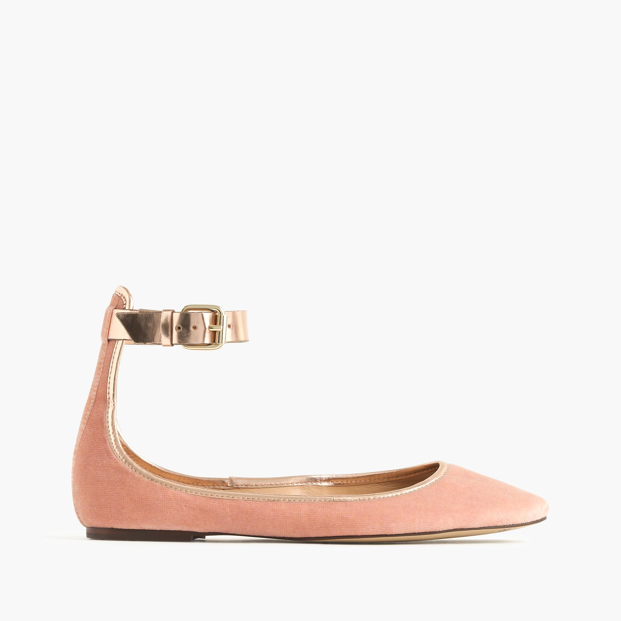 ebc6a223a J.Crew Velvet Ankle-strap Ballet Flats in Pink - Lyst