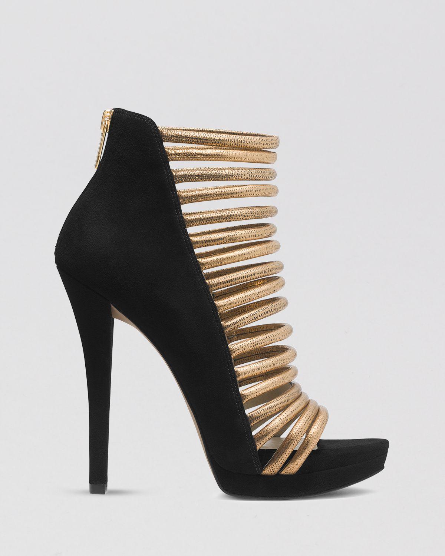 michael michael kors open toe caged platform evening sandals cameron high heel in black lyst. Black Bedroom Furniture Sets. Home Design Ideas