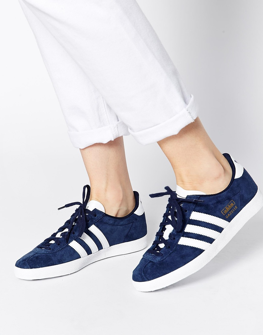 Adidas Originals Gazelle Og Blue Leather Trainers
