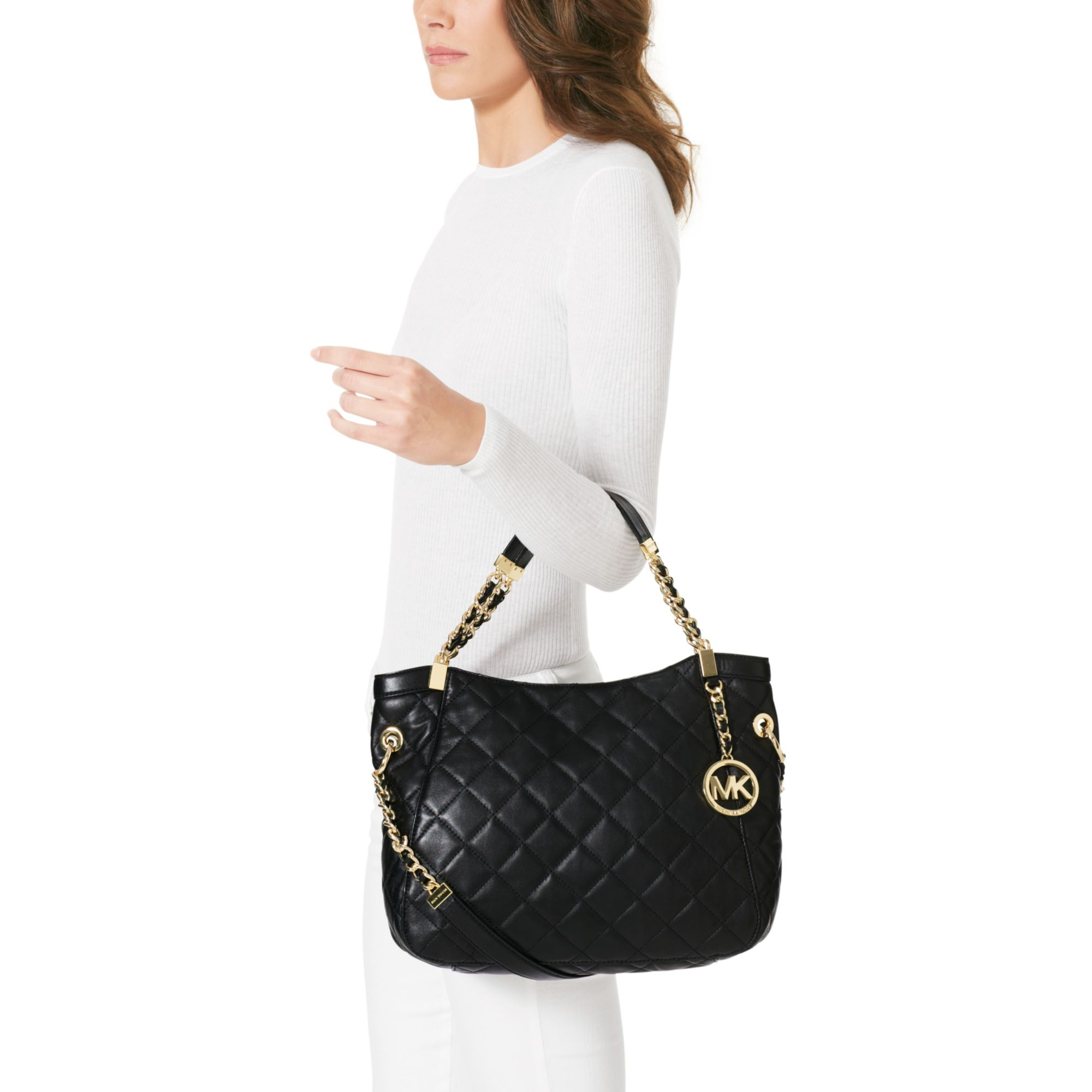 a82cc757a029 Lyst - Michael Kors Susannah Large Quilted Leather Tote in Black