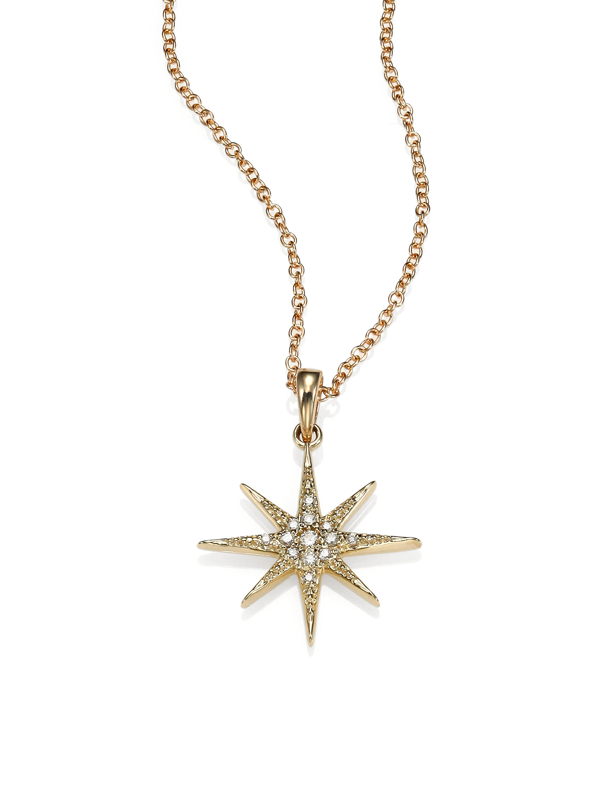 Mizuki Pave Diamond Star Pendant Necklace in Metallic