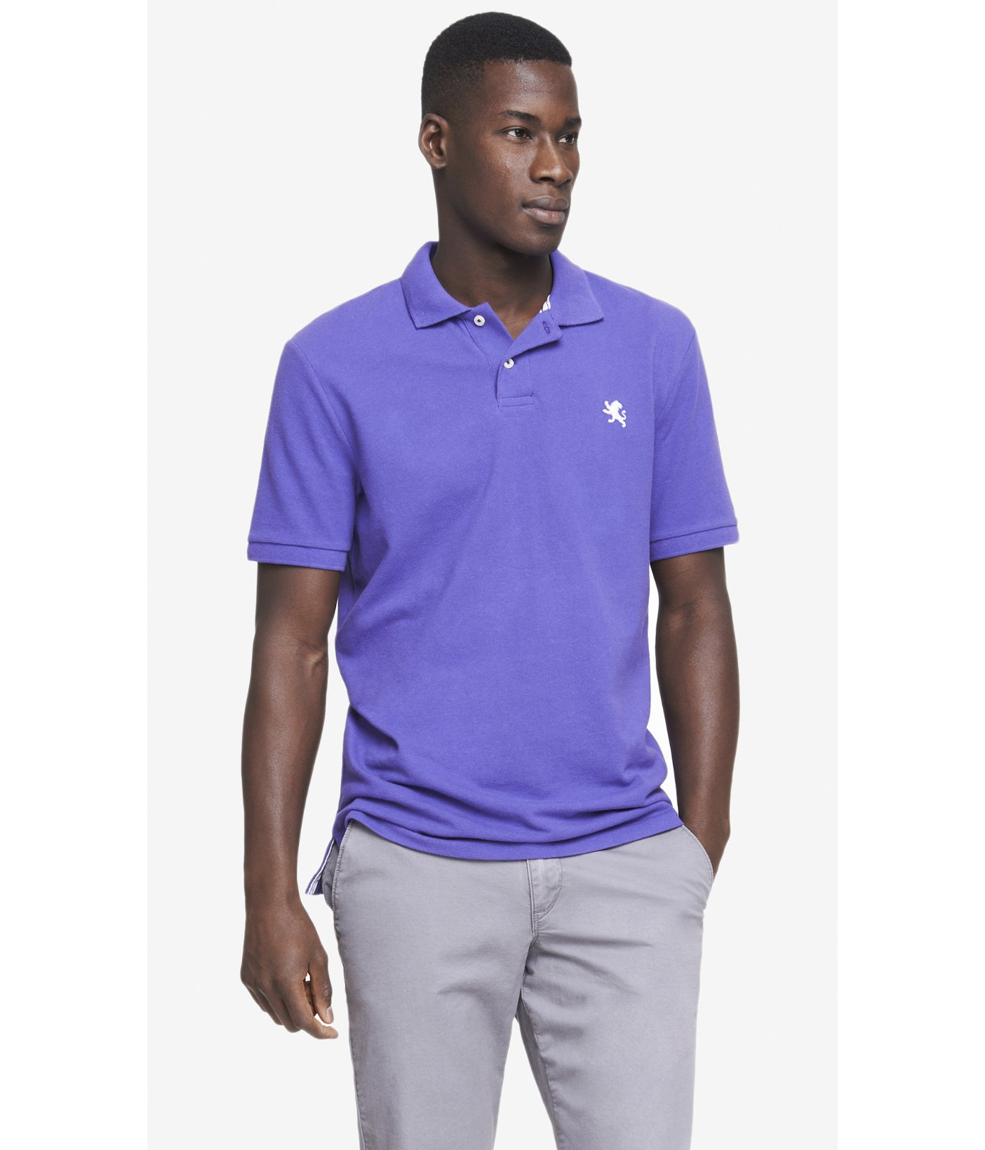 Lyst Express Modern Fit Small Lion Pique Polo In Blue