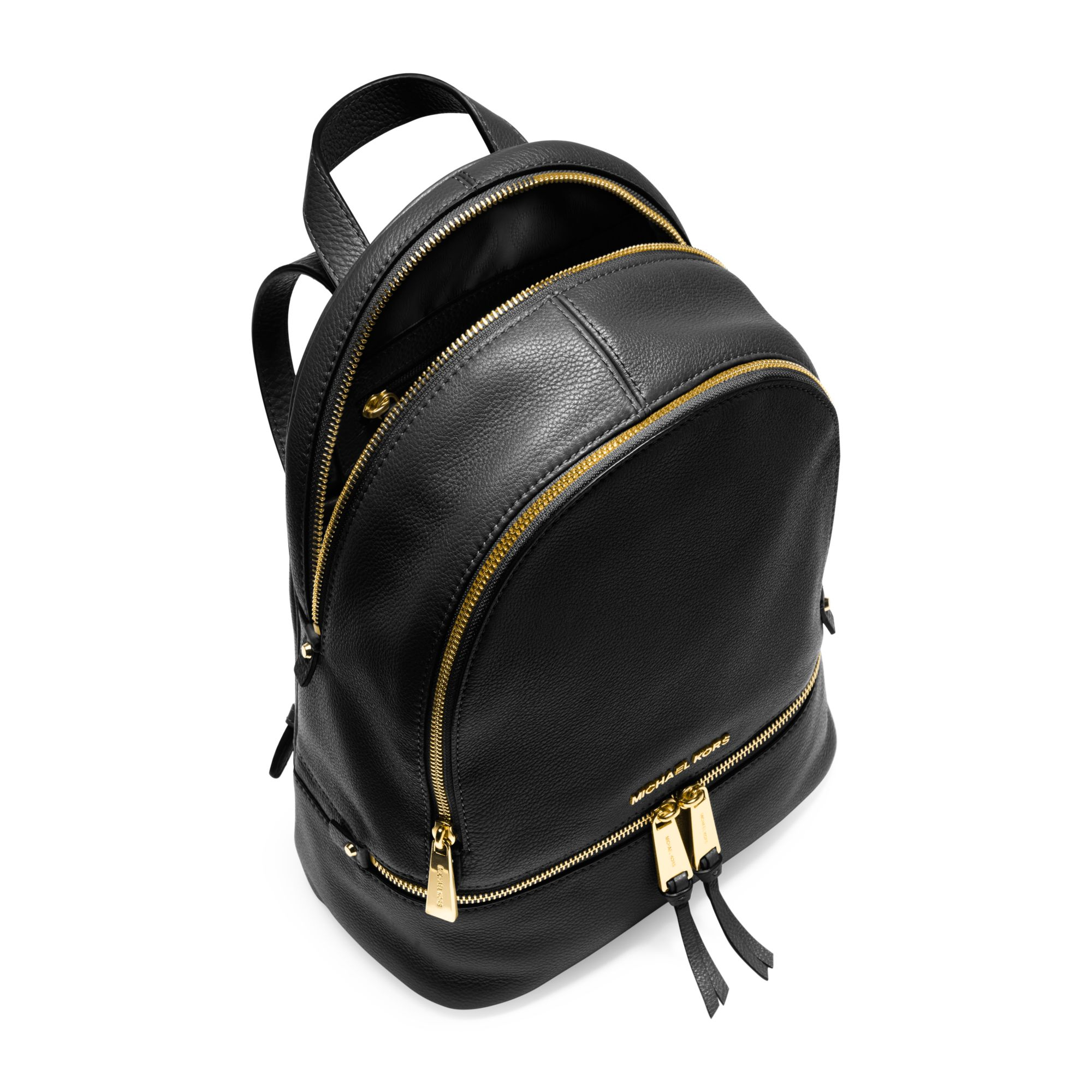 Michael kors Rhea Medium Leather Backpack in Black | Lyst