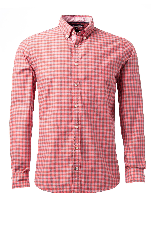 Tommy hilfiger koby gingham long sleeve shirt in pink for for Tommy hilfiger gingham dress shirt