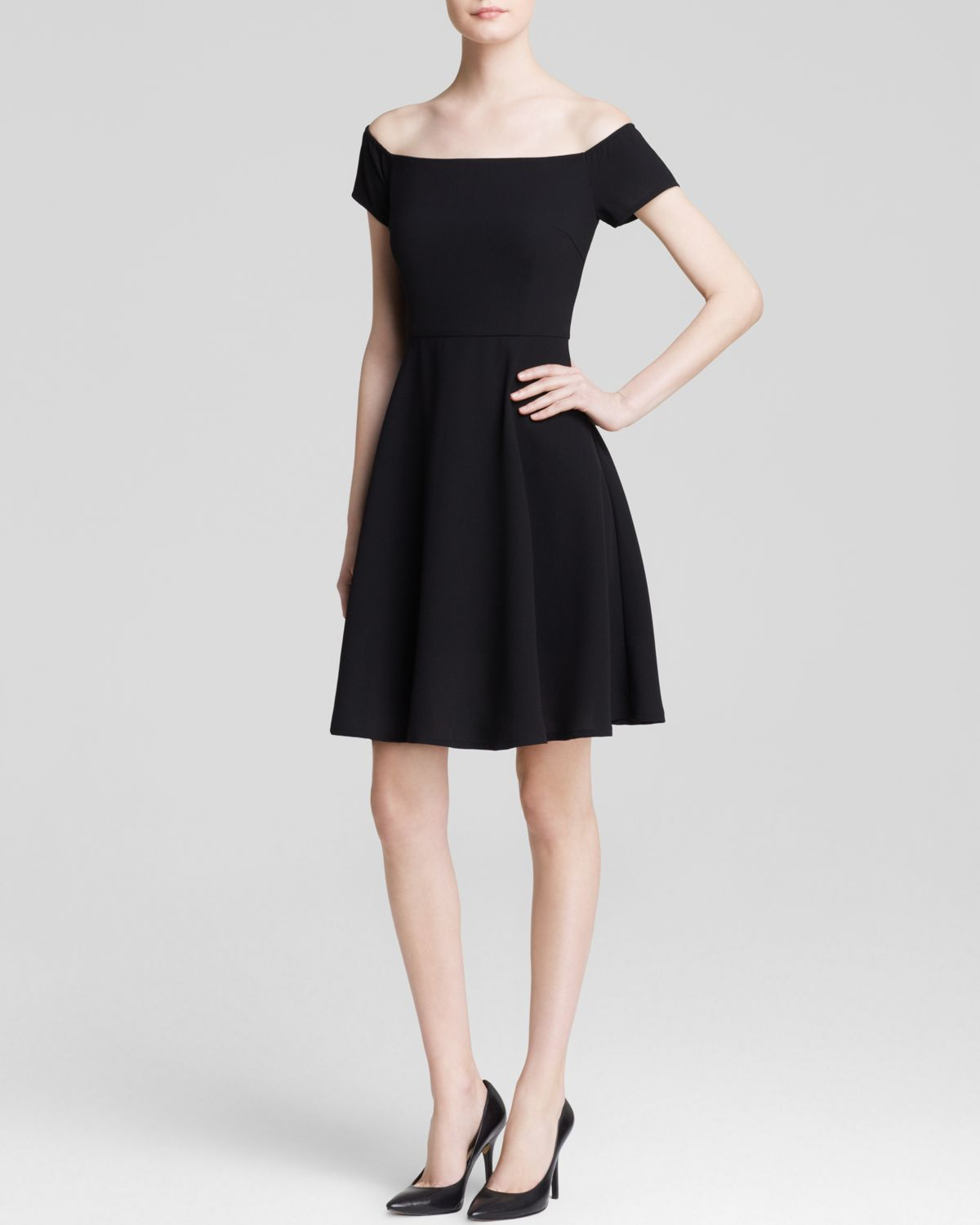 Lucy Paris Dress Off The Shoulder Fit And Flare In Black