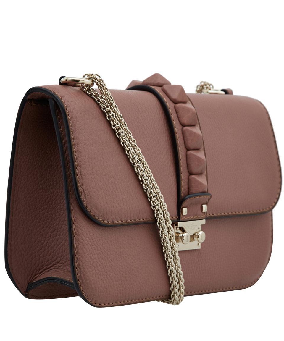Lyst Valentino Light Pink Rockstud Leather Crossbody Bag