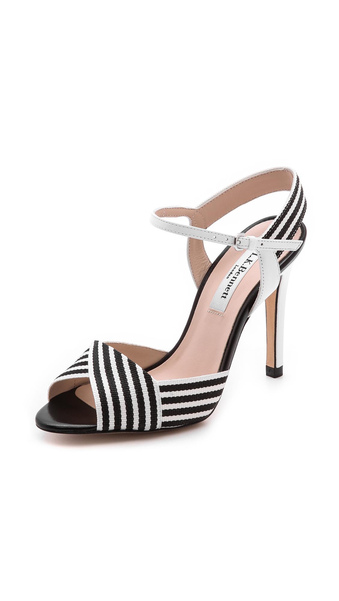 lk colette stripe sandals in black black white