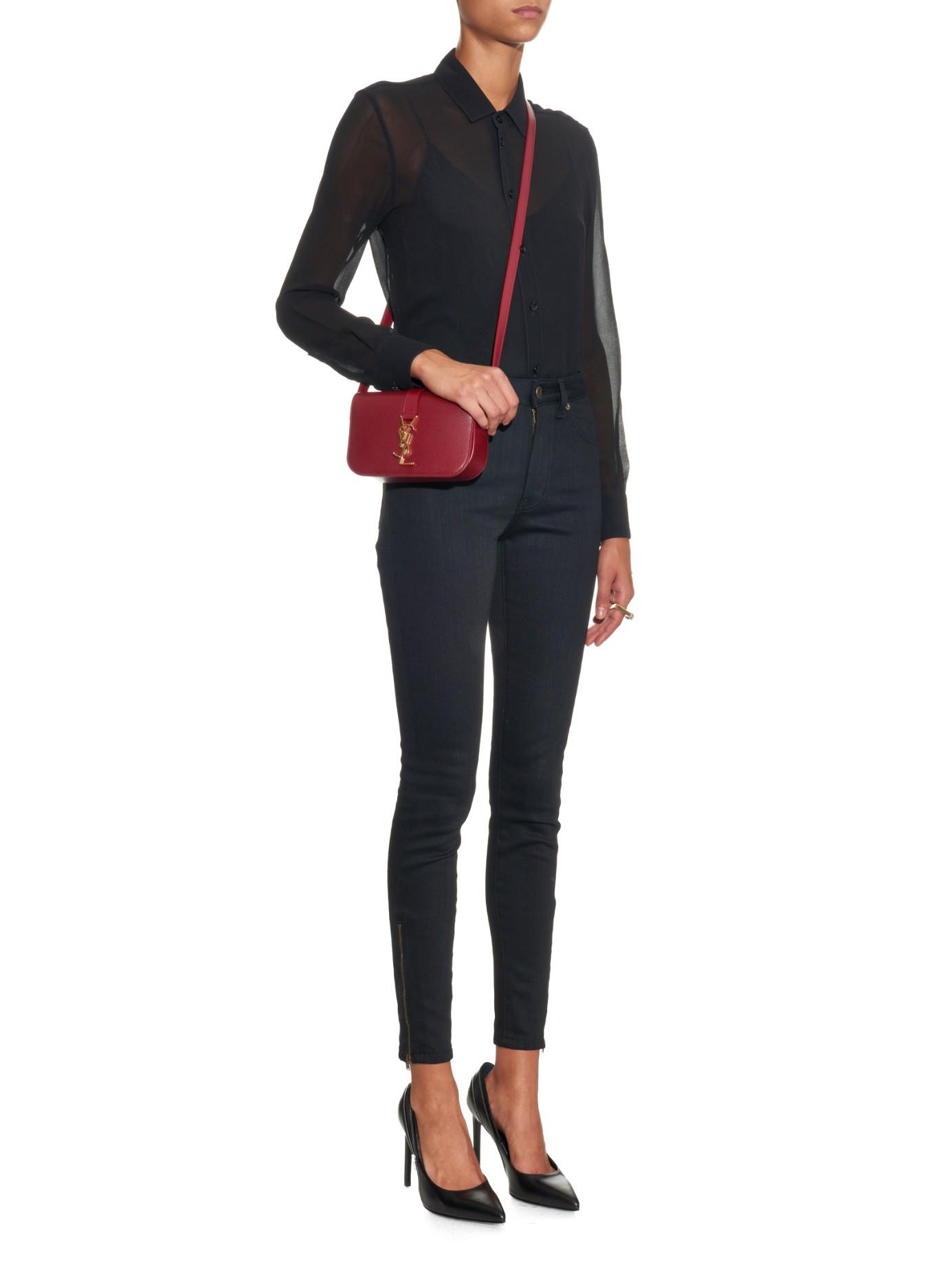 4aaa5dcb01 Lyst - Saint Laurent Université Leather Cross-Body Bag in Purple