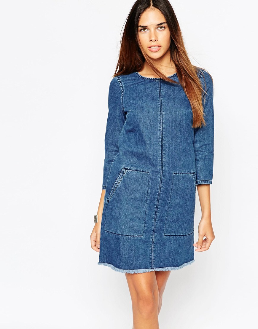 Lyst - Warehouse Frayed Hem Button Back Shift Dress in Blue