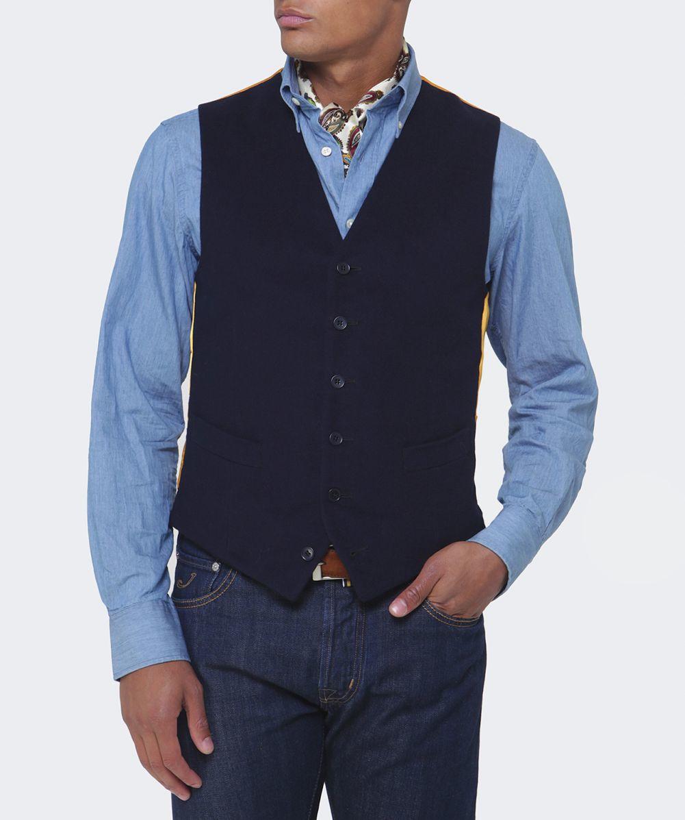 Jules B Moleskin Waistcoat In Blue For Men Lyst