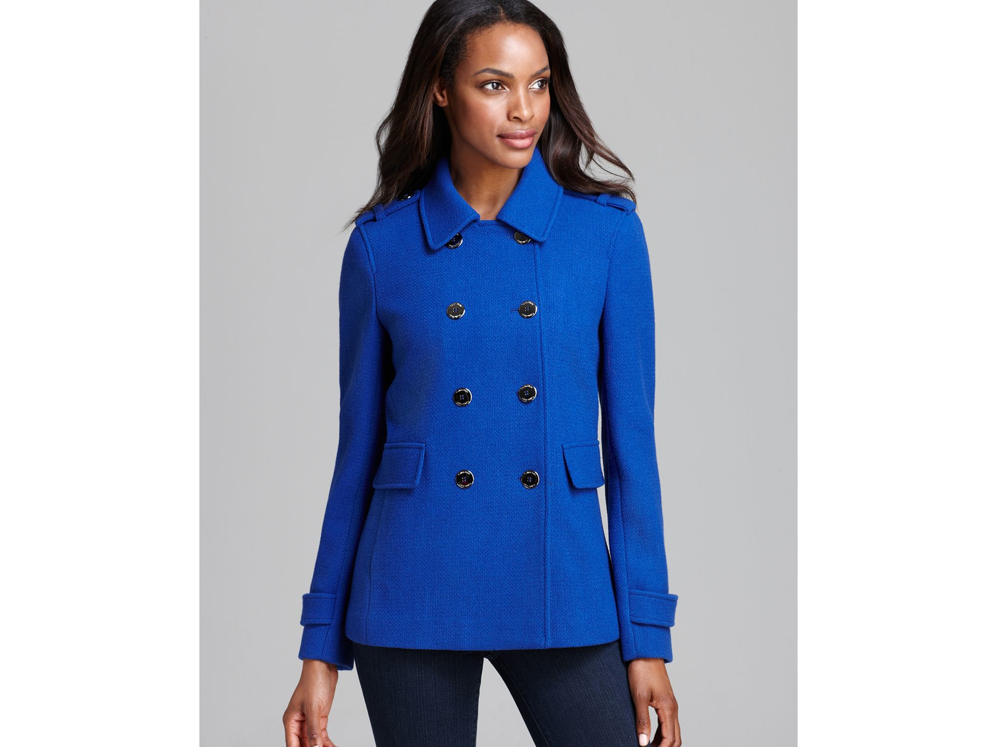 Calvin klein Peacoat - Double Breasted Military in Blue | Lyst