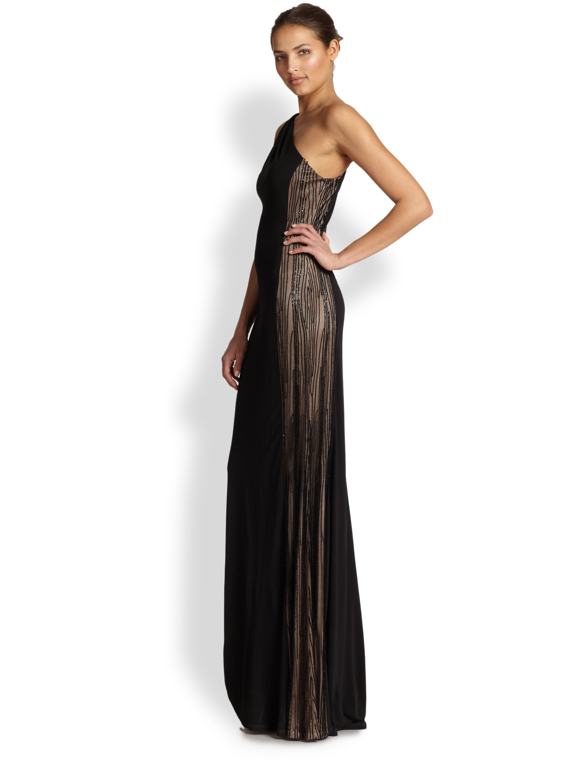 60b5debe97a David Meister Jersey One-Shoulder Illusion Gown in Black - Lyst