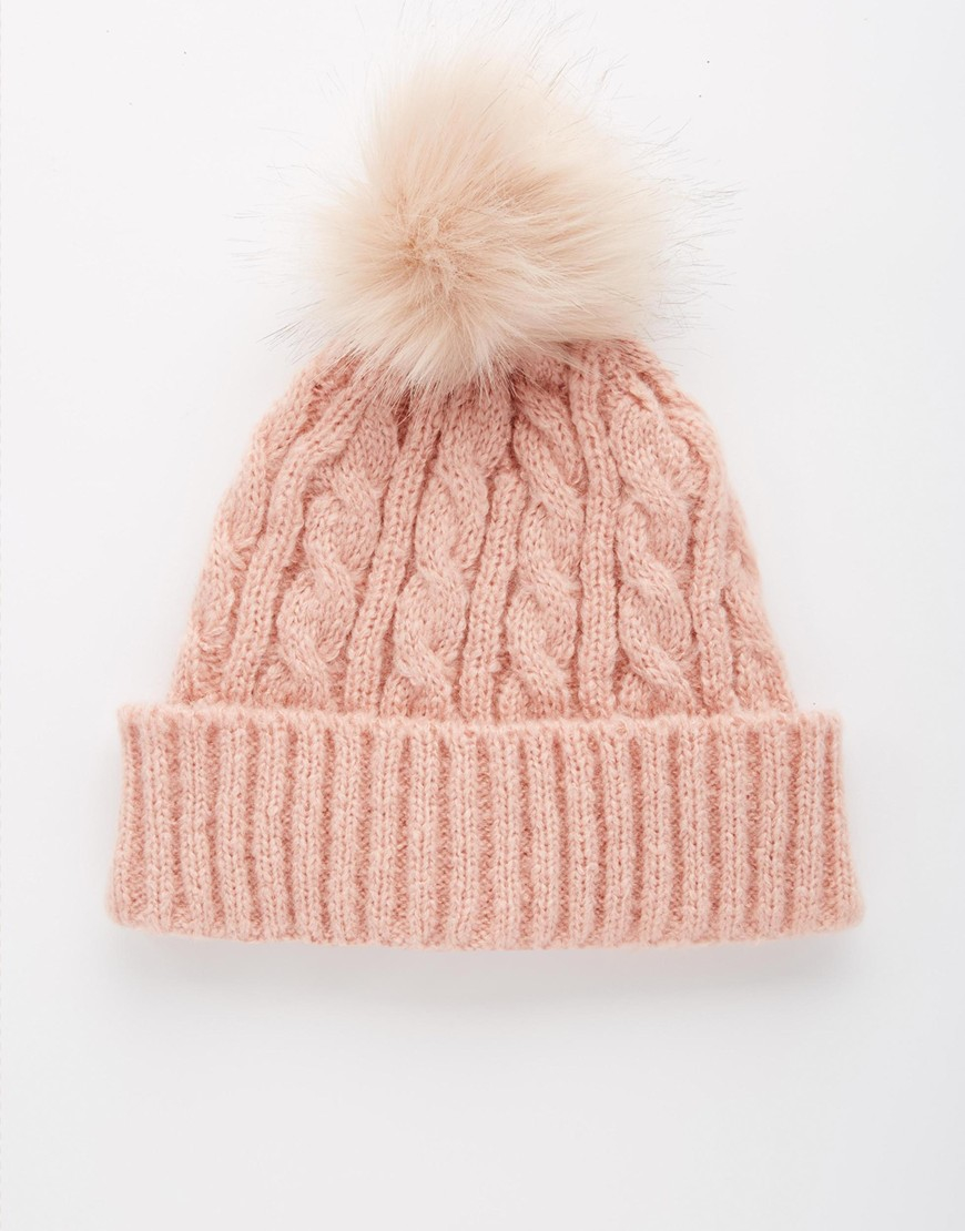 186afe0609e Lyst - ASOS Cable Faux Fur Pom Beanie in Pink