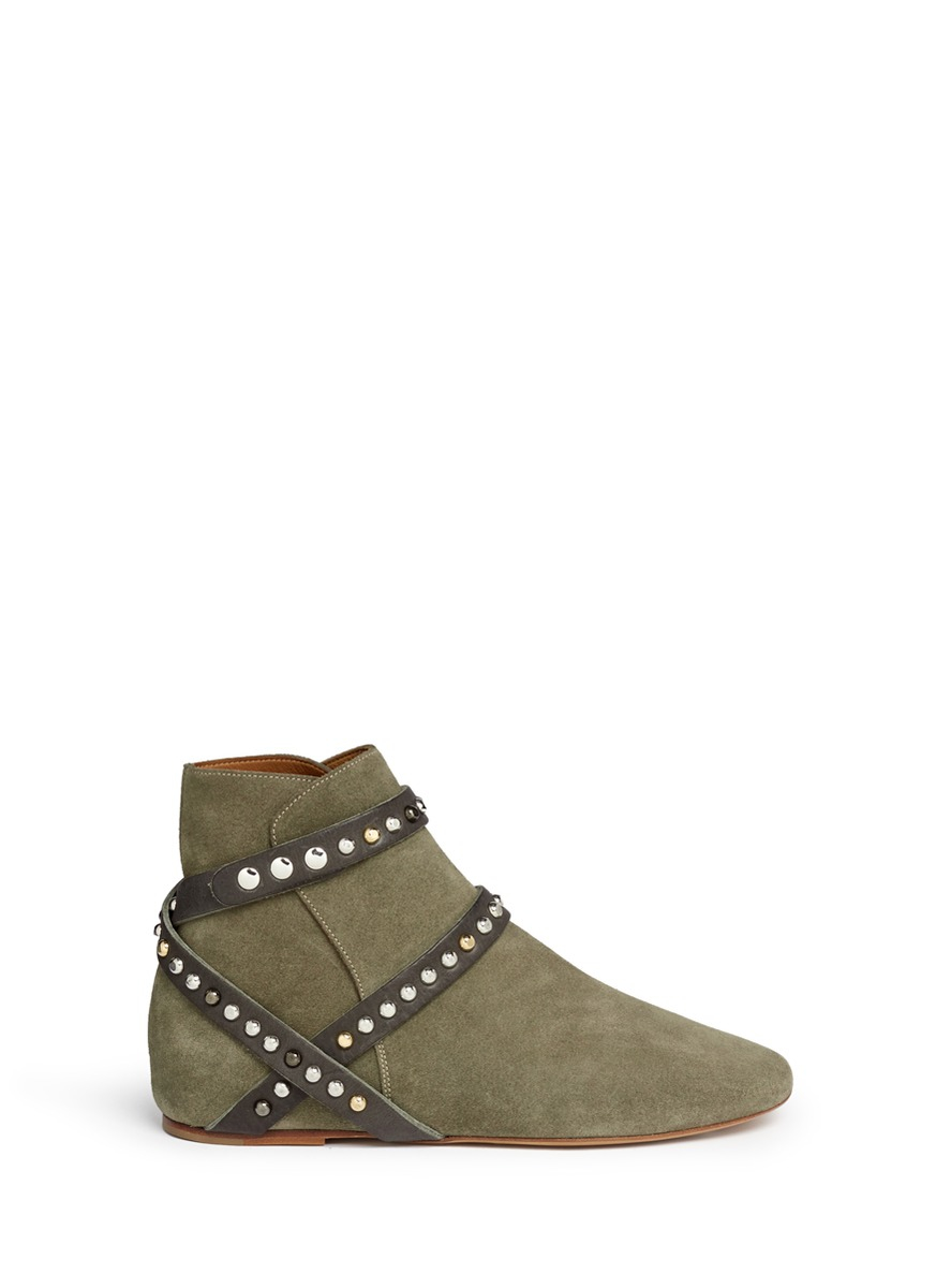 lyst toile isabel marant ruben studded suede ankle boots in brown. Black Bedroom Furniture Sets. Home Design Ideas