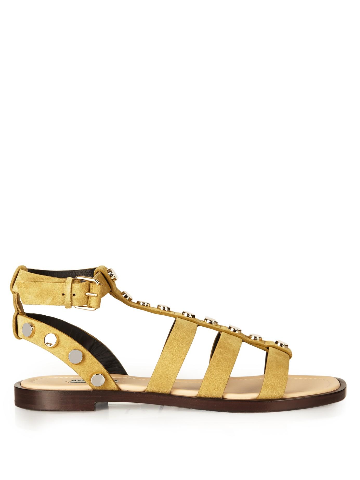 44497842eca Balenciaga Amp Stud-embellished Suede Gladiator Sandals in Yellow - Lyst