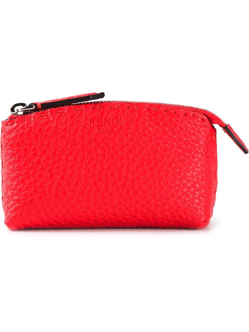 f66eeea5b8 Lyst - Fendi Selleria Makeup Bag in Red
