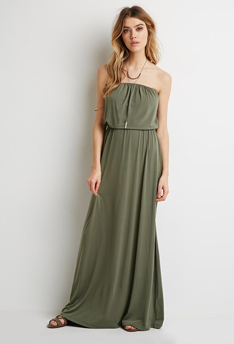 6f647e3940 Forever 21 Strapless Maxi Dress in Green - Lyst
