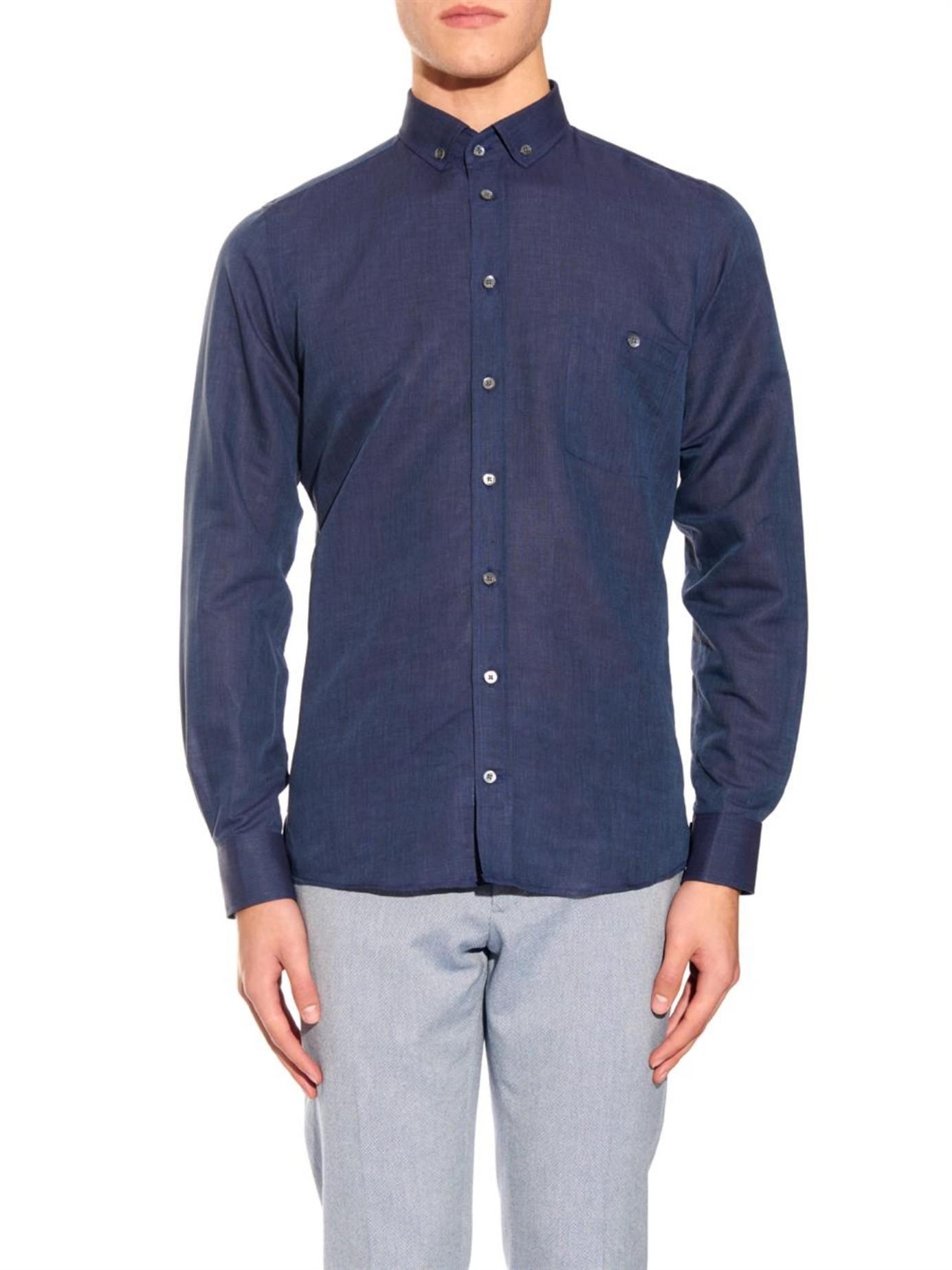 Richard james Linen And Cotton-blend Shirt in Blue for Men ...
