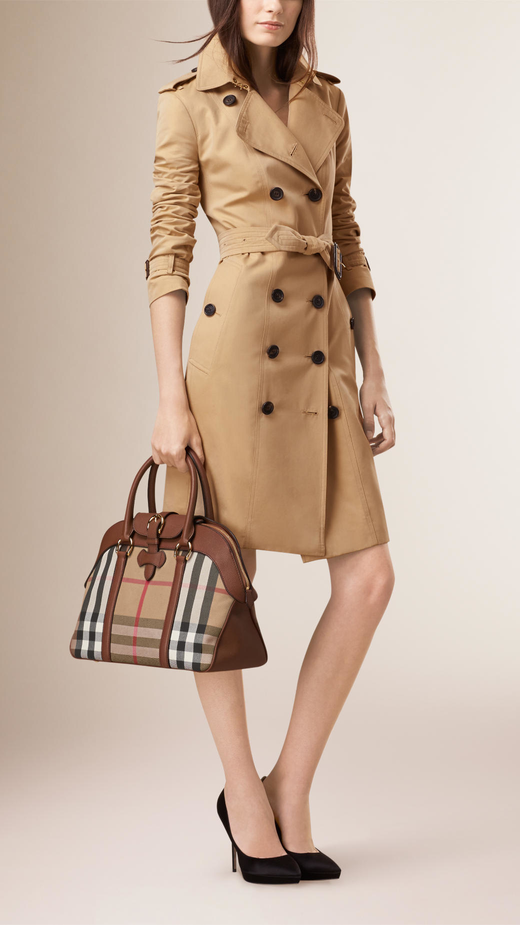 f802ddfab056 Lyst - Burberry Large House Check And Leather Bowling Bag in Brown