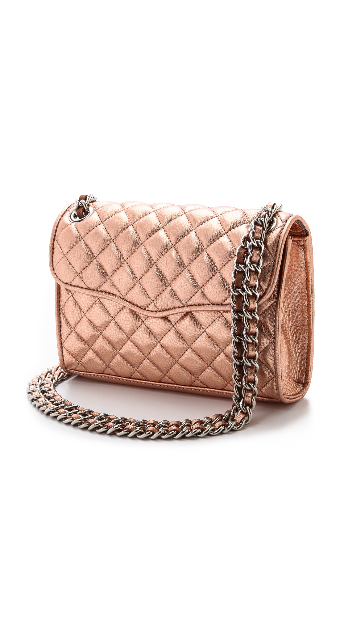 Rebecca minkoff Quilted Mini Affair Bag Rose Gold in Pink | Lyst
