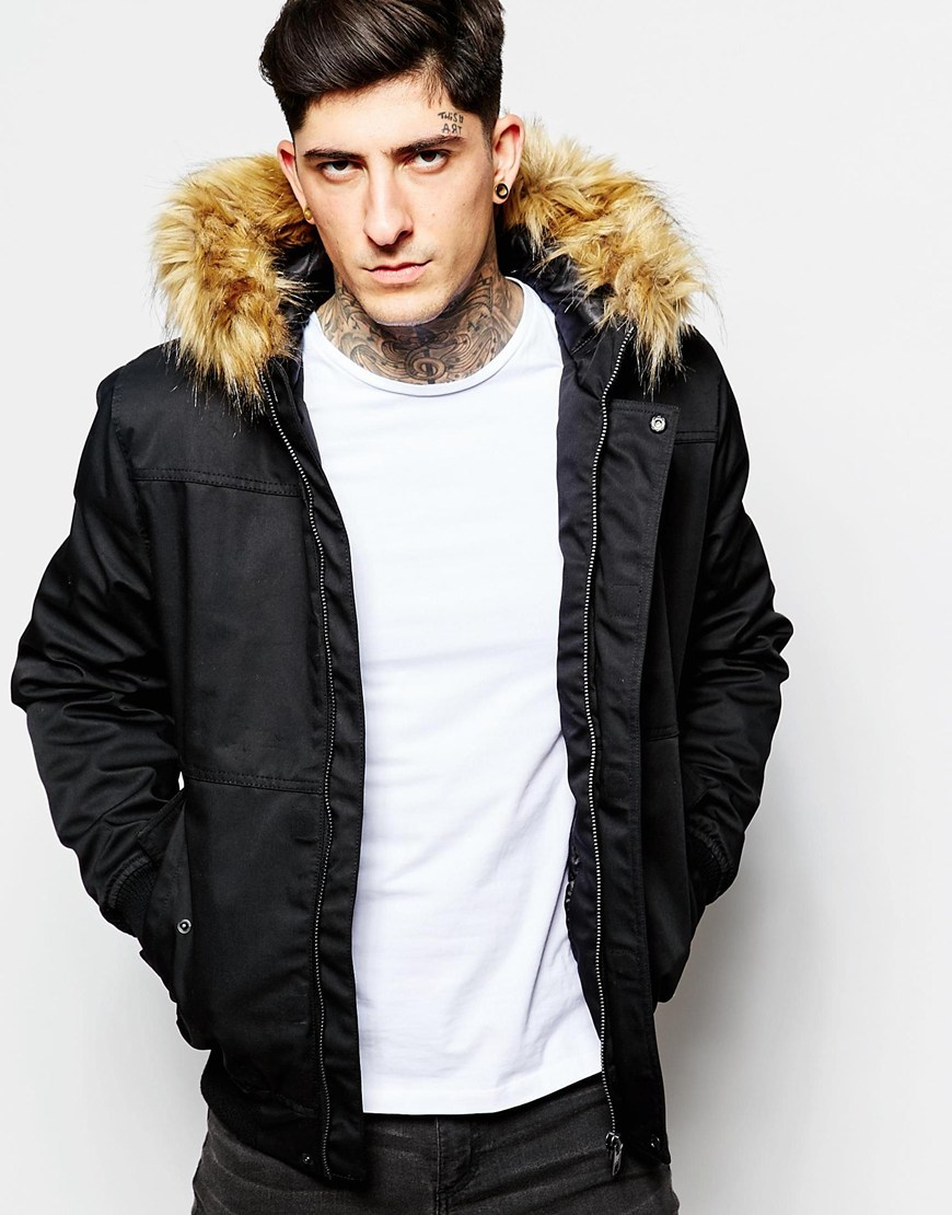 8723b884b033 Lyst - Minimum Bomber Jacket With Faux Fur in Black for Men