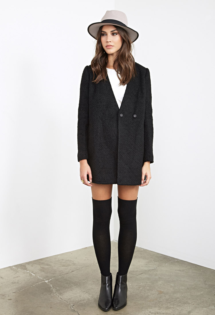 Forever 21 Collarless Boucl&eacute Coat in Black | Lyst