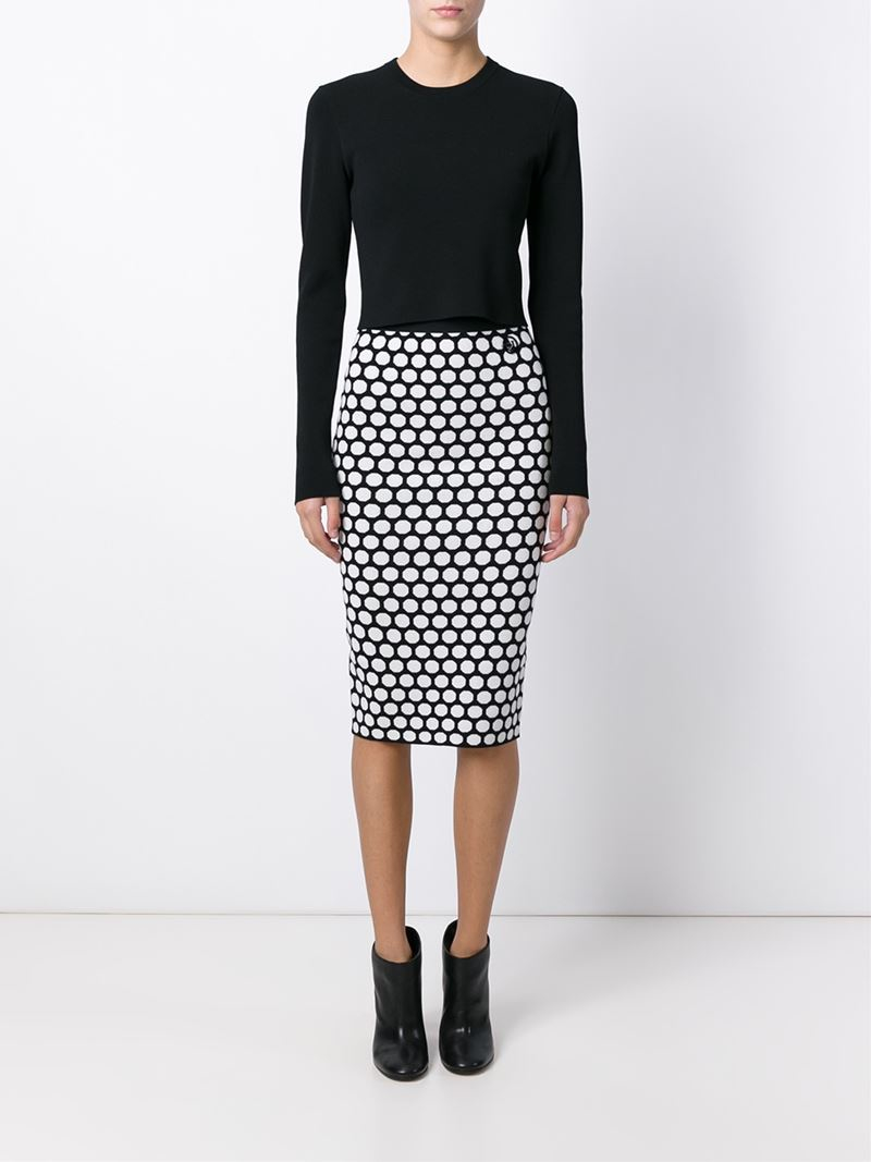 Armani jeans Polka Dot Pencil Skirt in Black | Lyst