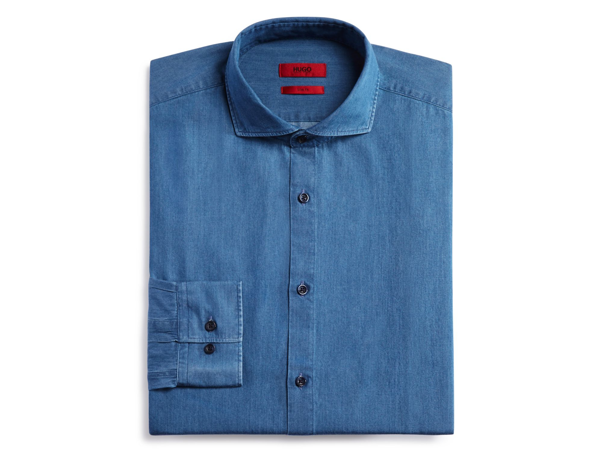 lyst boss hugo denim slim fit dress shirt in blue for men
