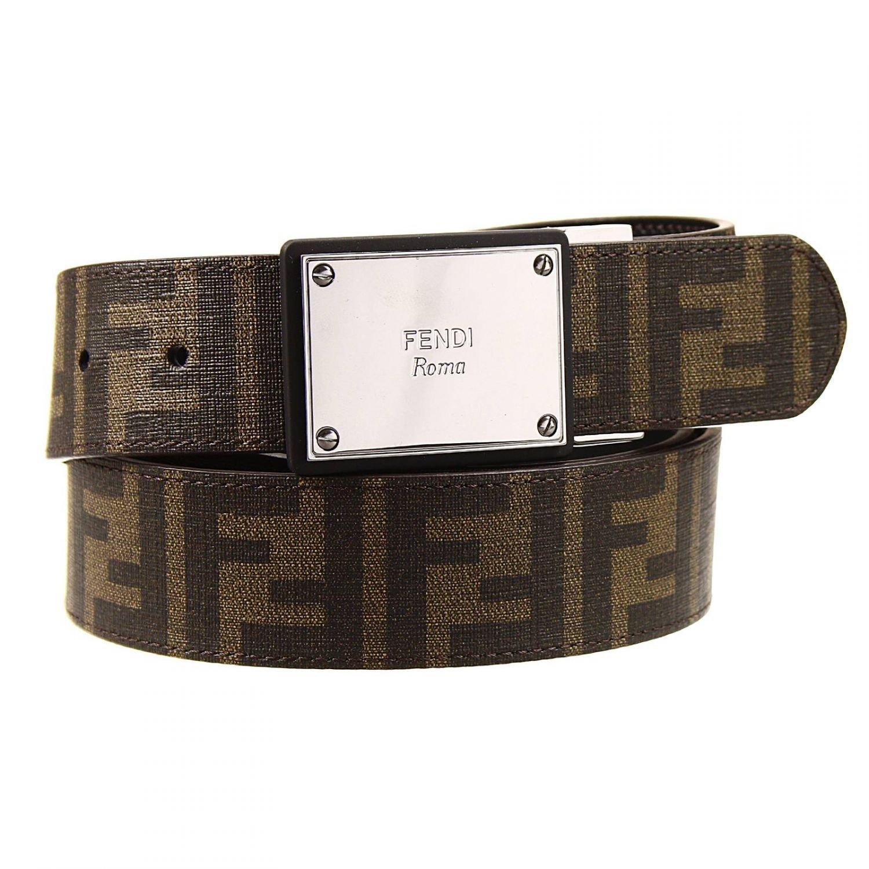 fendi belt buckle plaque logo zucca pu reversible