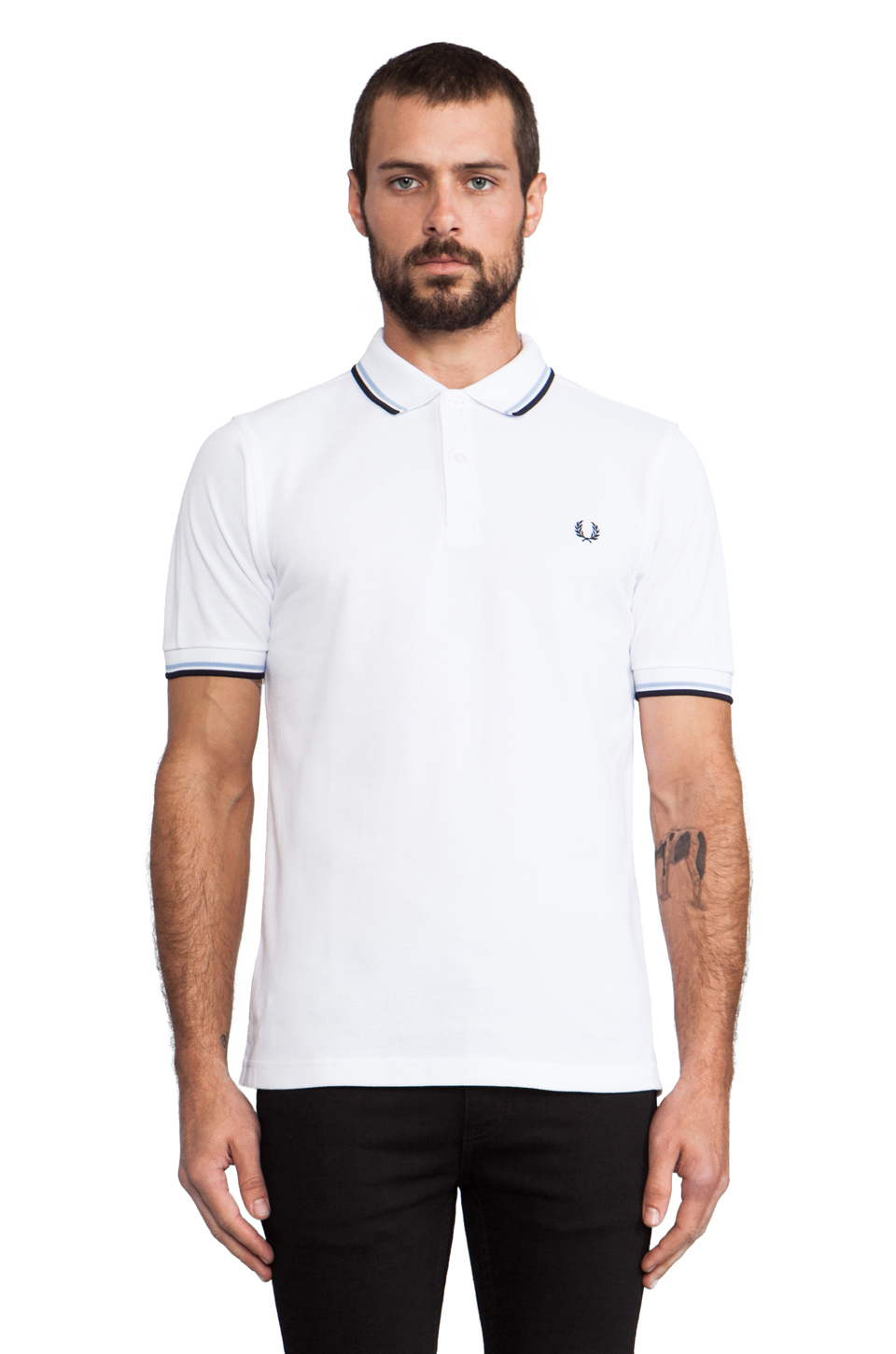 fred perry twin tipped slim fit polo in white for men lyst. Black Bedroom Furniture Sets. Home Design Ideas