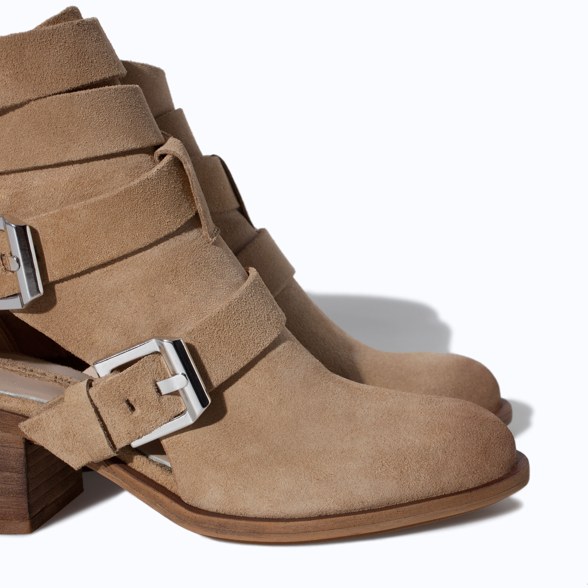 Zara Suede Leather Block Heel Ankle Boot in Brown | Lyst