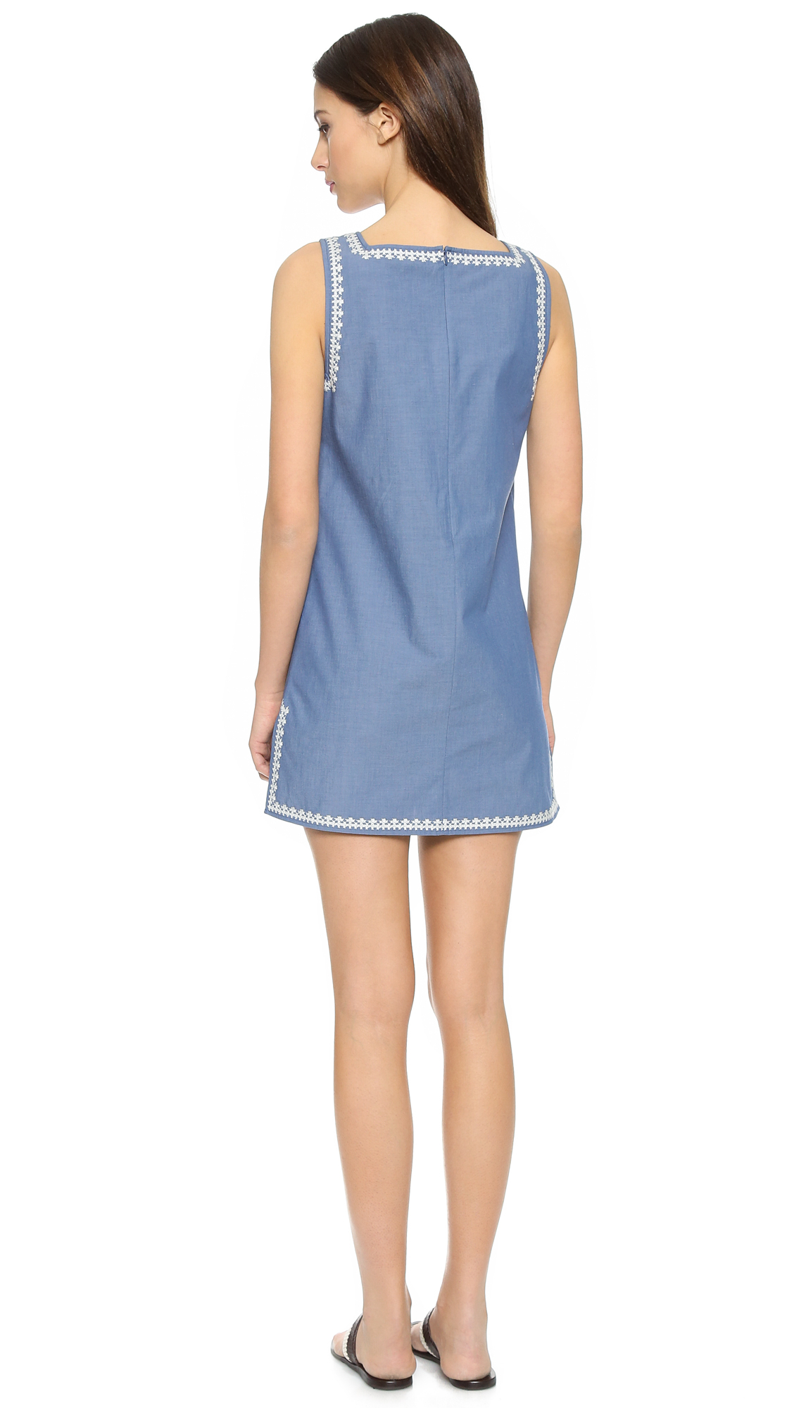 Tory burch embroidered chambray dress indigo chambray for Chambray dress