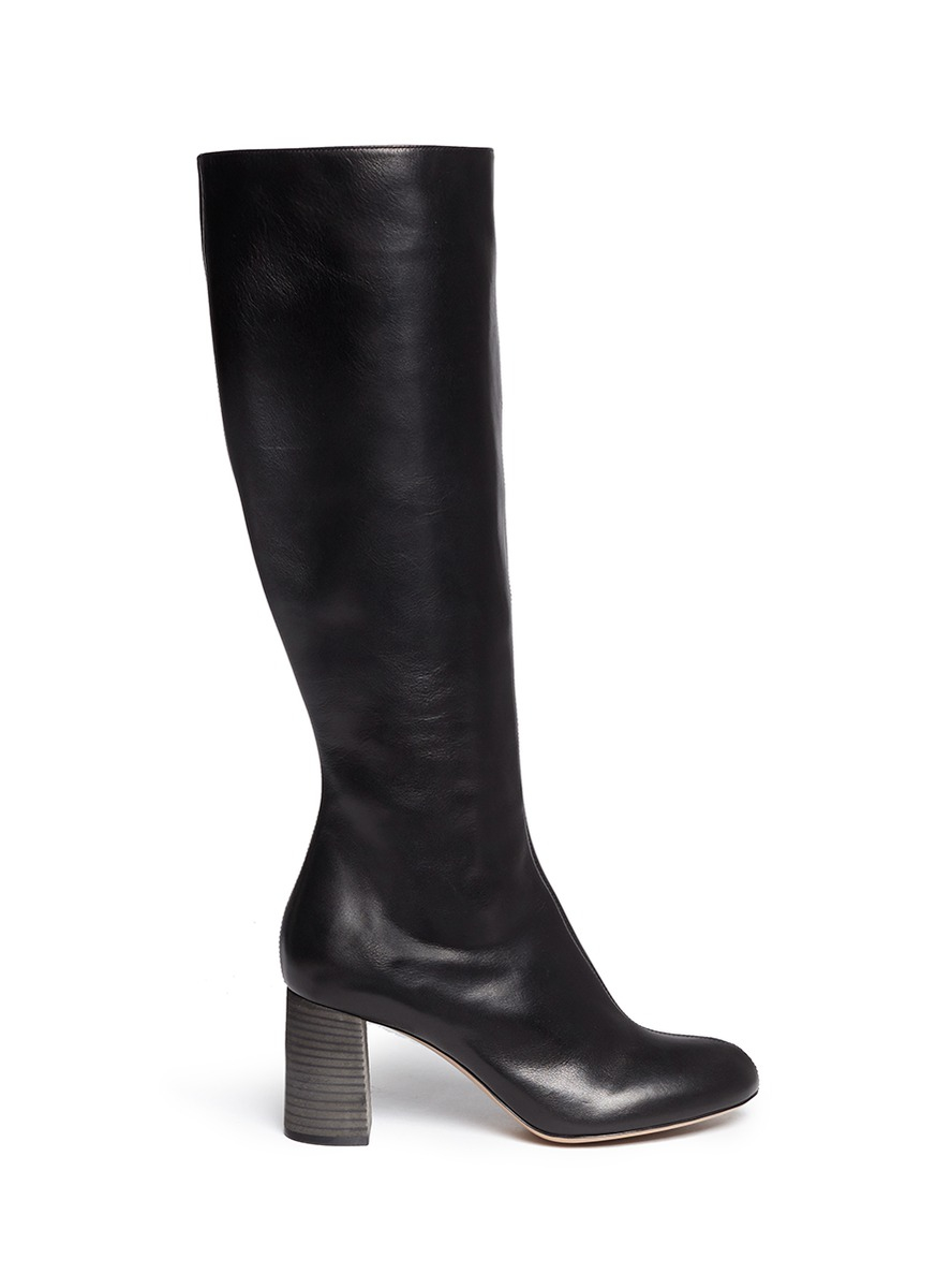 chlo 233 leather knee high boots in black lyst
